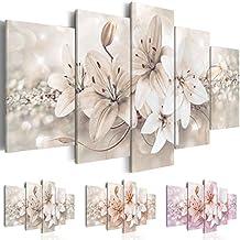 murando Cuadro en Lienzo 200x100 cm - 3 tres colores a elegir - Impresion en calidad fotografica - Cuadro en lienzo tejido-no tejido - 5 Partes - flores b-A-0297-b-n 200x100 cm