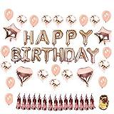 Hotchy Geburtstag Dekoration Rosegold, Geburtstagsdeko Set mit 16' Happy Birthday Banner, 20pcs 12' Konfetti Latex Ballons und 4pcs 18' Folie Herz Sterne Ballons mit Gold String für Party, Geburtstag