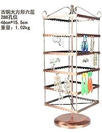 Boucles d'oreilles tournantes rétro, étagère à bijoux, collier en fer, étagère suspendue, bronze carré Six couches