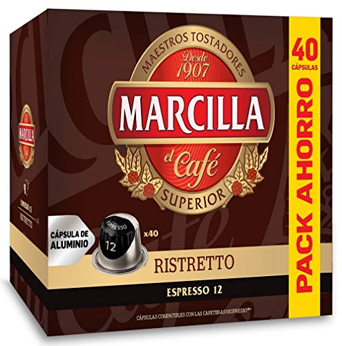 Marcilla Ristretto - Capsulas Compatibles Nespresso Aluminio - Formato AHORRO 40 bebidas