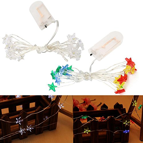 Zibuyu-2M-20-Led-Beam-Five-Pointed-Star-Flexible-Silver-Wires-Light-String-Party