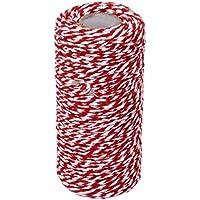 Cdet 100M Cuerda de algodón Navidad double color de algodón de embalaje accesorios de bricolaje,Rojo