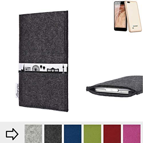 flat.design für Blaupunkt SL 04 Schutztasche Handy Hülle Skyline mit Webband Wien - Maßanfertigung der Schutzhülle Handy Tasche aus 100% Wollfilz (anthrazit) für Blaupunkt SL 04