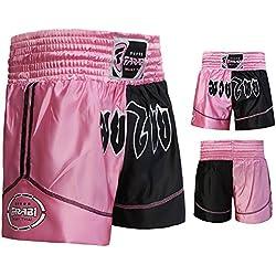 Muay Thai Boxing Kick Boxing Artes Marciales Pantalones Cortos, color negro y rosa (talla pequeña)