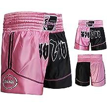 Muay Thai Boxing Kick Boxing Artes Marciales Pantalones Cortos Rosa Pantalones cortos negro (XL)