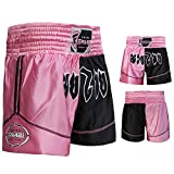 Farabi Pantalones Cortos de Boxeo, Artes Marciales, Muay Thai en Color Negro y Rosa, Talla S