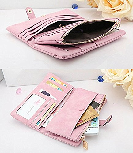 YJWAN Women Fashion Leather Wallet Button Clutch Purse Lady Long Handbag Bag Pink