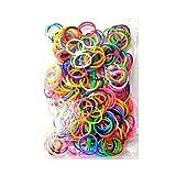 Sachet de 200 élastiques, bracelet rainbow loom bands multicolores rouge blanc vert rose noir