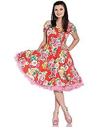 Hell Bunny MARGUERITA floral années 50 été orange mi Robe