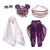 Baoblaze Traje de Danza de Vientre para Niñas Ornamentos con Borla de Moneda Artificial Disfraz de Fiesta Halloween Festivales - Púrpura, S