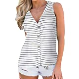 OIKAY Damenmode V-Ausschnitt Button Baumwolle Streifen Weste ärmelloses T-Shirt