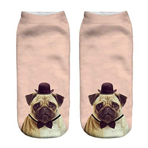 YJYDADA Socken, beliebte lustige Unisex-Socken mit 3D-Hundemotiv, Fußkettchen h - Gold Herren-baumwoll-socken Toe