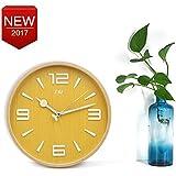 Madera Reloj de pared de grande, Digital, Silencioso, 32cm diametro, Reloj Decorativo para la decoración del hogar,salon, dormitorio, cocina, piso Wall Clock(1)