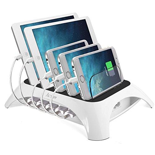 ACTOPP Estación de Carga USB 5 Puertos Base de Carga Universal Cargador...