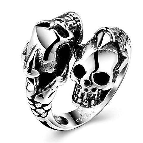 AMDXD Bijoux En acier Inoxydable Hommes Argent Noir Gothique Bagues Deux Crâne Biker Punk Taille 61.5