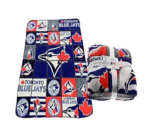 Toronto Blue Jays MLB Soft Cozy Sherpa Lined Throw Fleece Blanket Bluejays 47