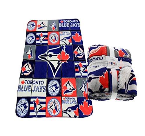 Toronto Blue Jays MLB Weiche Cozy Sherpa Gefüttert Überwurf Fleece Decke Bluejays 119,4x 149,9cm (Schwellen Baseball)