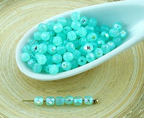 Bois Demi Rond - 100pcs Aqua Blue Opal AB Demi-Rond à