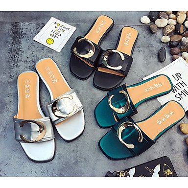 RTRY Donna Sandali Pu Estate Outdoor Casual Tacco Piatto Nero Argento Verde Sotto 1In US8 / EU39 / UK6 / CN39