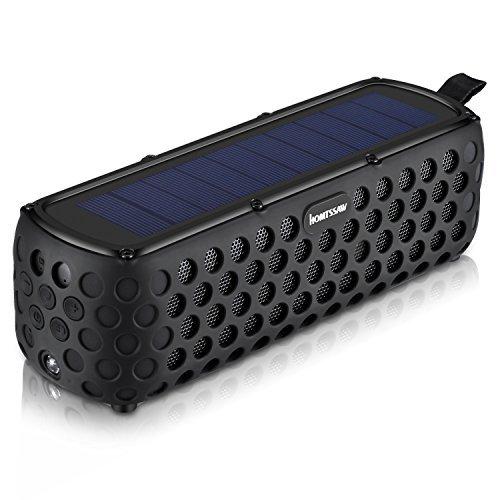 HOMTSSAW Solar Bluetooth Lautsprecher Wasserdicht Drahtlose Wireless Speaker 30 Stunden Spielzeit Dual-Treiber HD Stereo tragbarer Fahrrad Bluetooth 4.0 Speaker für Outdoor Sport