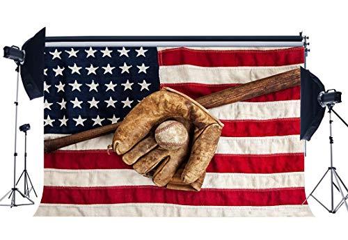 l Hintergrund Grunge Baseball Handschuh auf amerikanische Flagge Kulissen Sternenbanner Sport Match Fotografie Hintergrund Jungen Kinder Independence Day Fotostudio Requisiten ()