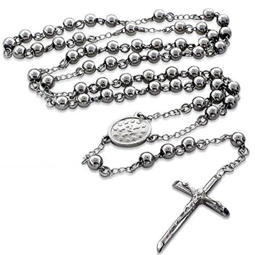 Rosenkranz Perlen-Halskette: Länge: 99,1cm-Extra Lang-Edelstahl