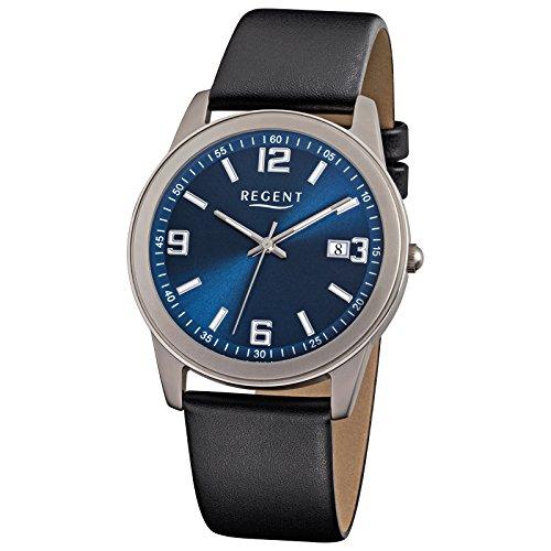 Hombre-reloj Regent piel-pulsera titanio negro - caja (de metal) gris plata cuarzo D2URF844