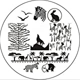 JUSTFOX - Nail Art Zoo Tiere Animal Plates Template Fashion Stempel