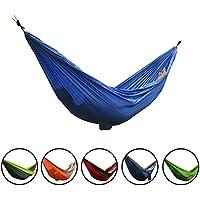 Smarcy - Hamaca de nailon portátil para camping o jardín, 270 x 140 cm para dos personas, color azul
