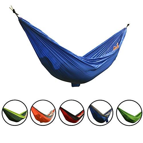 Smarcy Amaca Portatile per Campeggio o Giardino, Materiale di Nylon, 270 x 140 cm, Colore Blu