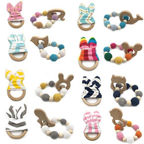 Coskiss 16pcs Animal de Madera Baby Teether Bangle Toy Anillos de dentición Bunny Ear 1set / 2pc juguete sensorial de dientes de bebé puede masticar la dentición Joyería Montessori Juguetes orgánicos de madera Crochet Bead Teething Ring Pulsera (color 8)