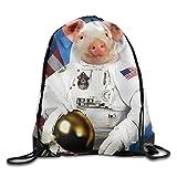 Etryrt Prime Sacs à Cordon,Sac à Dos, Astronaut Pig Drawstring Backpack Rucksack...
