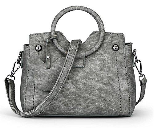 Xinmaoyuan Borse donna moda gattino borsa Messenger Bag Borsa a Tracolla motivo floreale retrò colore Borsa Pu Grigio
