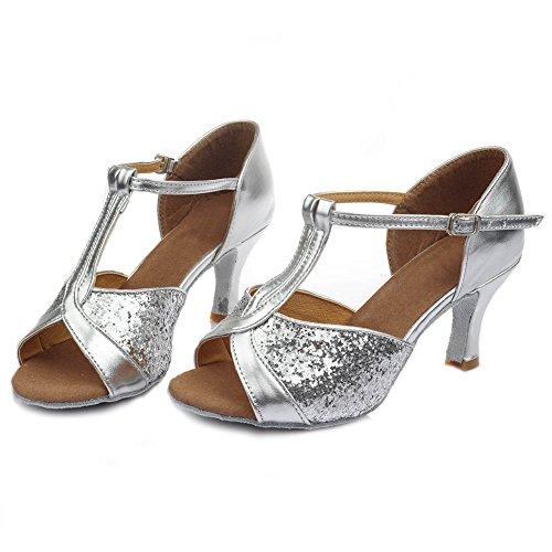 Hroyl Femmes I7-259 Satin Chaussures De Danse Latine / Moderne / Jazz / Latin / Chacha / Samba Ballroom 7cm Argent