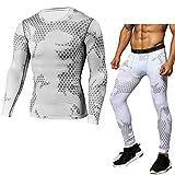 B-commerce Herren Sportanzug - Mann Tight Bodybuilding Schnell trocknende Oberteile Lange Hosen Camouflage Lässig Athlet