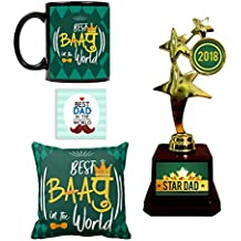 YaYa cafe Star Dad Alloy Trophy, Mug, Cushion Cover and Coaster -Combo Set of 4