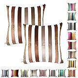 Queenie®–2PCS Chenille Stripe Dekorative Kissenbezug Kissenbezug für Sofa Überwurf Kissen Fall erhältlich in 15Farben & 5Größen, Baumwolle, 054, 24