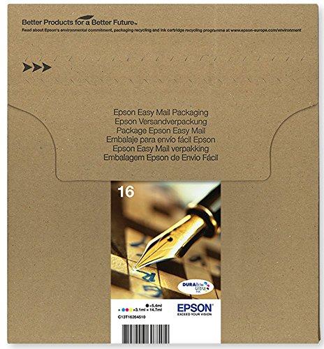 epson patronen 16 Epson Original C13T16264511 Füller, wisch- und wasserfeste Tinte (Multipack, 4-farbig) (CYMK)