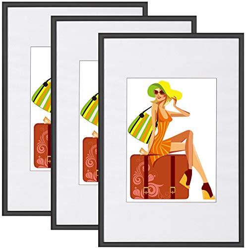 WOLTU Set de 3 Cadre Photo Cadre en Plastique Mat pour Photo 30x45cm façade en Plastique New Life Style Noir BR9895sz-3