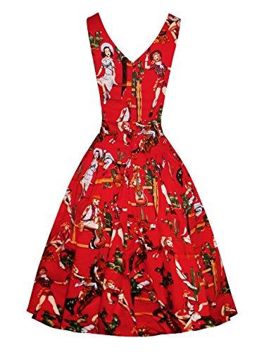 YAZACO Damen 50er Retro Ohne Arm Kleid Casual Abendkleider Partykleid Cocktailkleid Floral 01