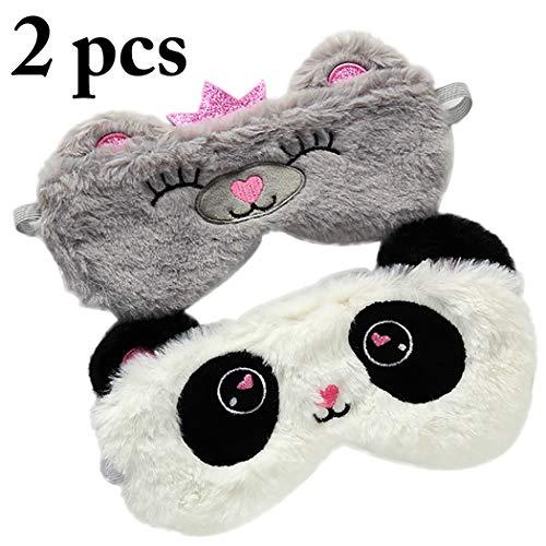 JUSTDOLIFE 2 STÜCKE Augen Maske Niedlichen Karikatur Bär Panda Weichem Plüsch Auge Schlaf Abdeckung (Panda Maske Bär)