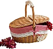 Picnic basket Hand Made Wicker Basket Wicker Camping Picnic Basket Shopping Storage Hamper and Handle Wooden C