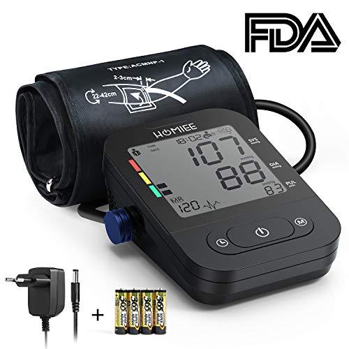 HOMIEE Oberarm Blutdruckmessgerät,klinische Vollautomatische professionelle Blutdruk-und Pulsmessung 2 * 120 Speicherplätze,mit Arrhythmie Anzeige,mit Netzteil/Netzstecker,FDA und CE Zertifizierung