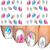 1 Blatt Feder 3D Nail Art Water Decal Aufkleber Tipps Feather Dekoration