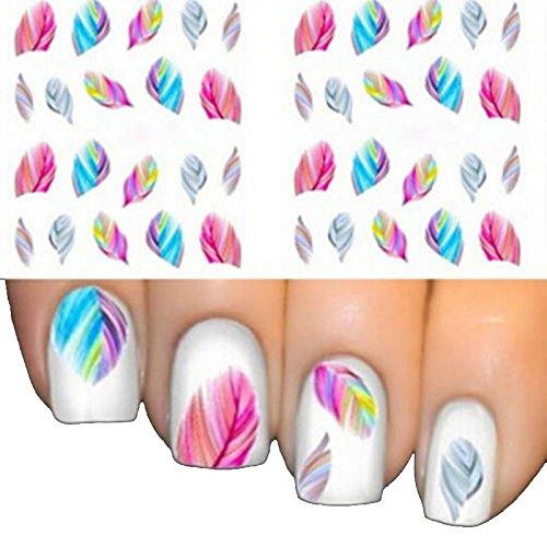 iDealhere 1 Feuilles Stickers de Ongles Plumes 3D Nail Art eau Decal Conseils Bricolage (1#)