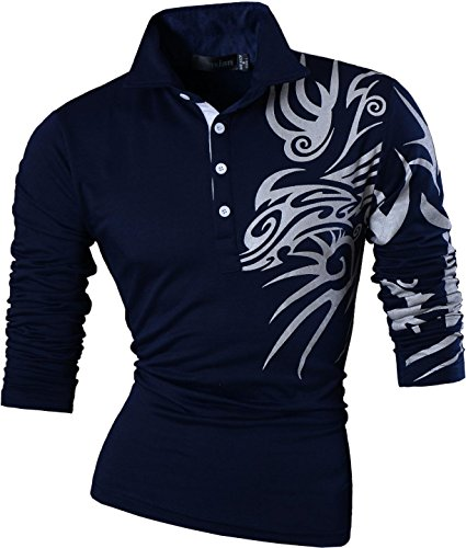 jeansian Herren Freizeit Slim Fit Langarmshirts Casual POLO T-Shirts U005 Navy S [Apparel] (Check-polo-t-shirt)