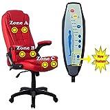 RayGar Luxus Faux Leder 6 Punkt Massage & Relax Sessel Bürostuhl schwenkbar um 360° Computer Studie - Rot