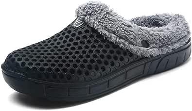 HangFan Men's Women Mules Clogs Slip On Garden Shoes Fur Lined Slides Flip Flops Warm Winter Slipper
