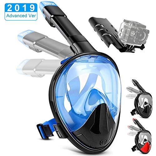 Jerfun Tauchermaske Schnorchelmaske Vollmaske Tauchmaske Vollgesichtsmaske mit Anti-Fog Anti-Leck, Abnehmbare Kamerahalterung und Schnalle für Erwachsene und Kinder (Blau, S/M)