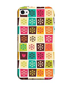 Apple iPhone 4S Back Cover Seamless Patterns With Colorful Squares And Snowflakes Design From FUSON